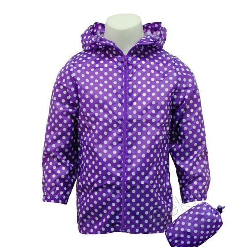 Kids Polka Dot Purple Packaway Cagoule