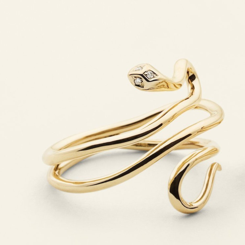 SNAKE RING - 18 karat gold with three diamonds