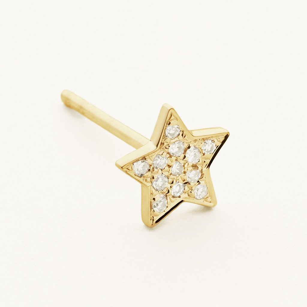 STAR EARSTICK - 18 karat gold with diamonds
