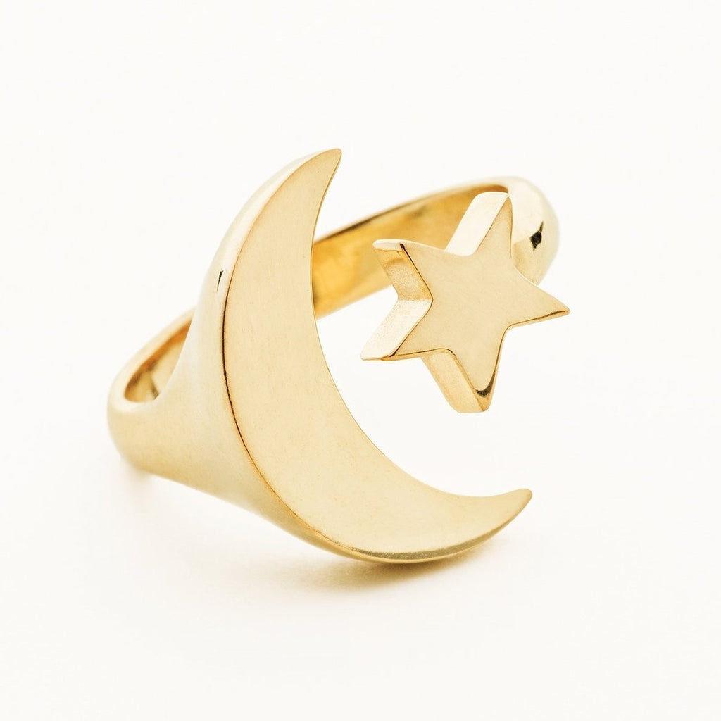 MOON & STAR RING - gold plated silver
