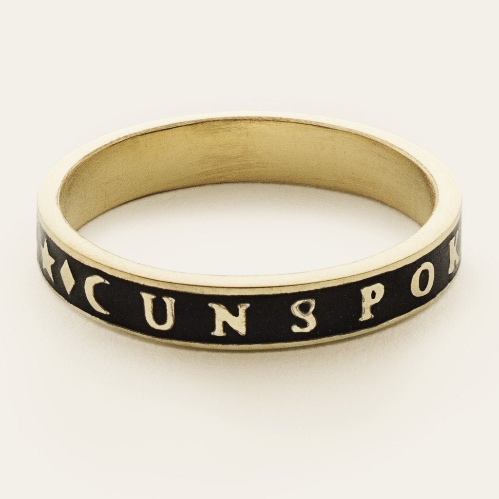 BLACK UNSPOKEN WORDS RING - gold plated with enamel