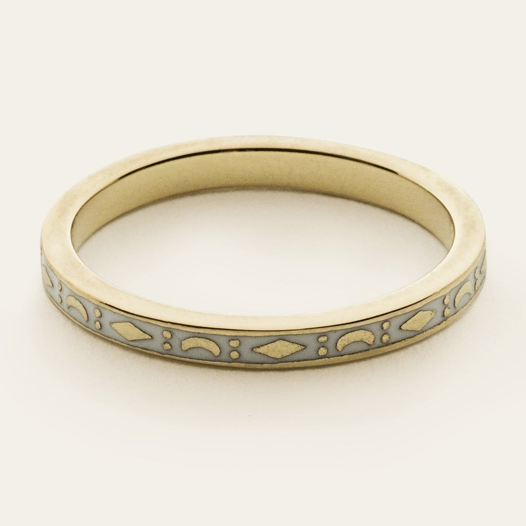 WHITE KITE AND MOON RING - gold plated silver and enamel