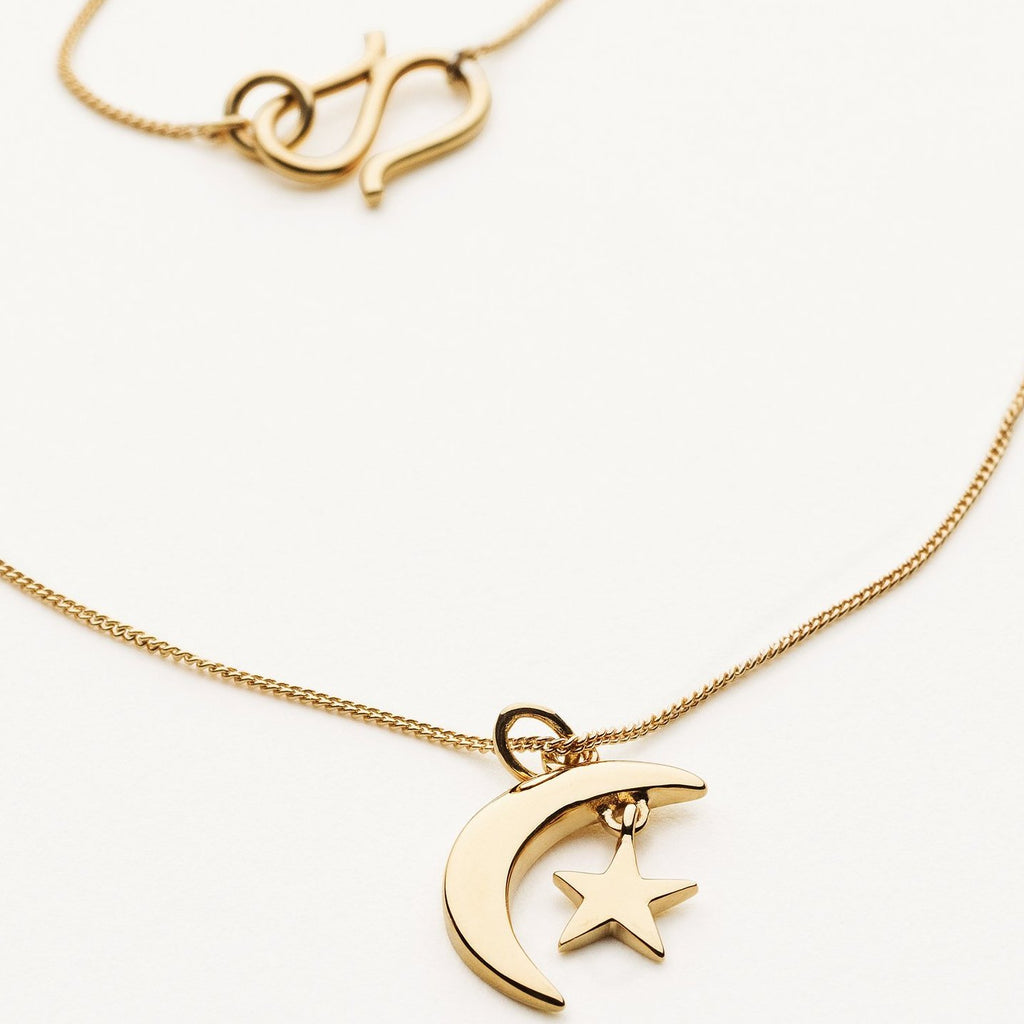 MINI MOON & STAR NECKLACE - gold plated silver