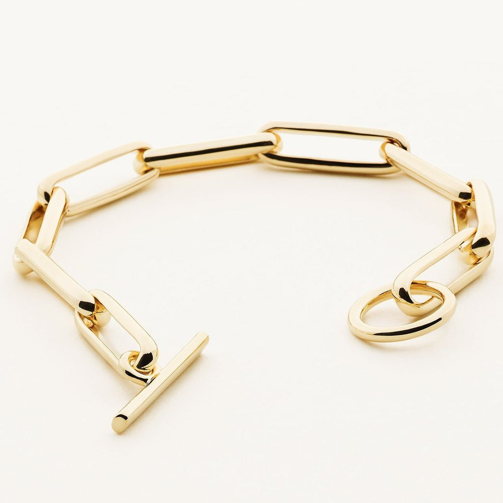 LARGE LINK BRACELET - gold plated silver