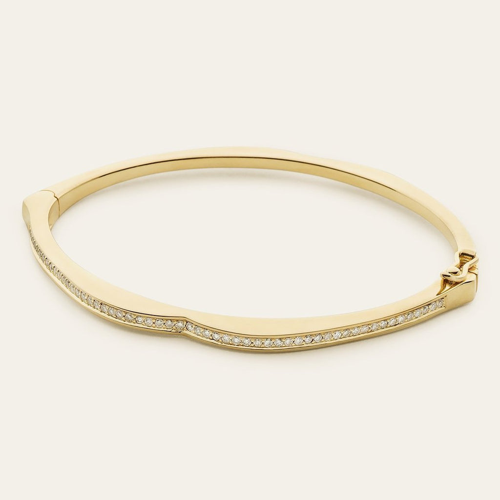 MOUTH BANGLE - gold plated silver with diamonds