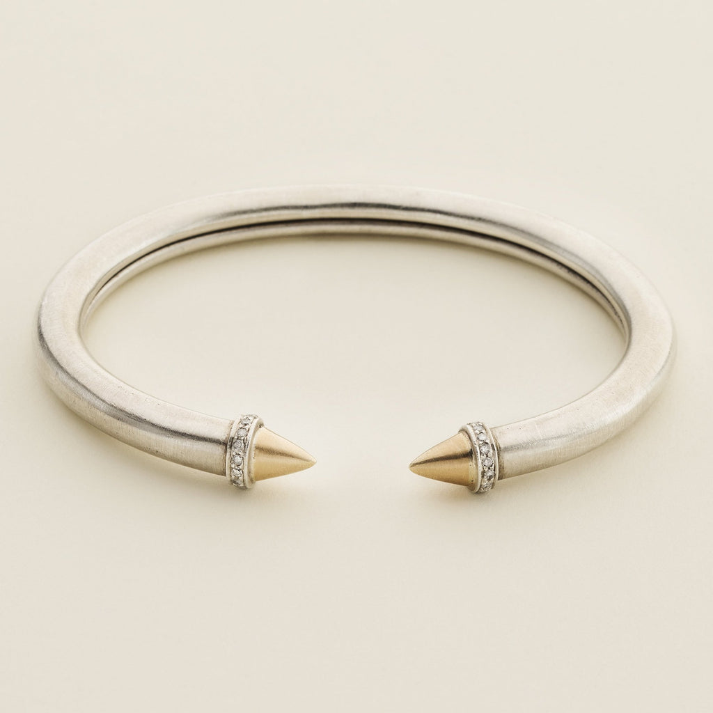 TWIST STUD BANGLE - silver with 18 karat gold and diamonds