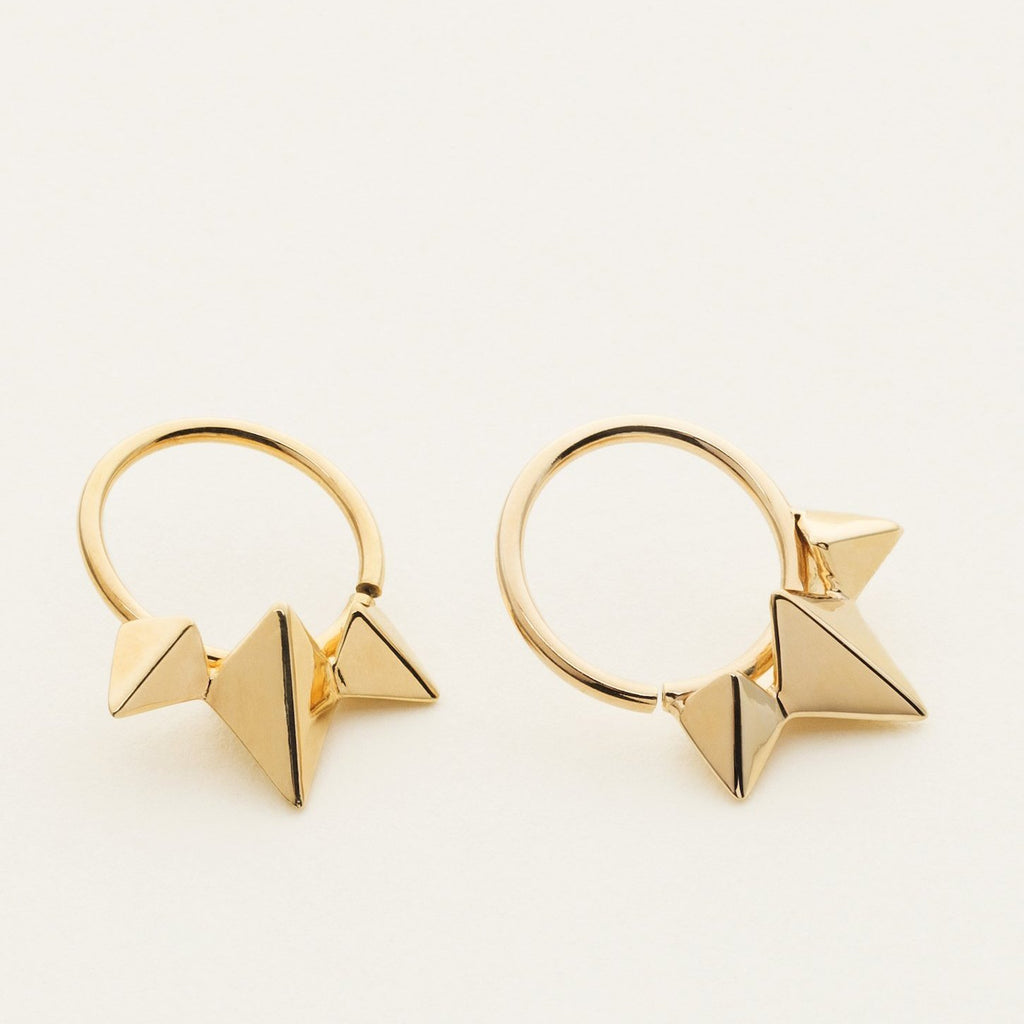 3 STUD HOOP - gold plated silver