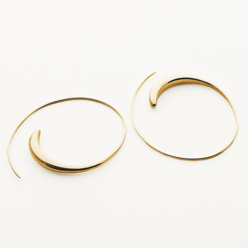 LARGE ASYMMETRIC HOOPS - gold plated silver