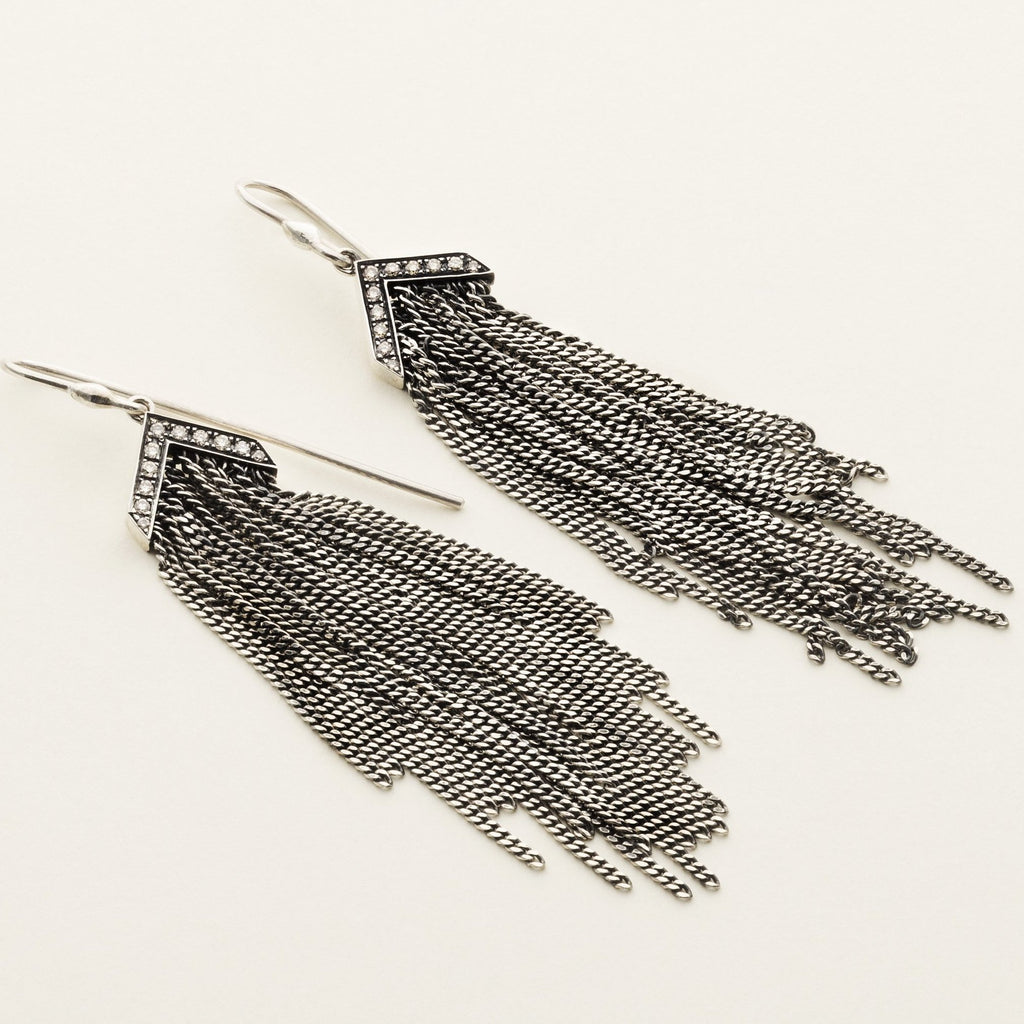 FRINGE EARRINGS - silver with diamonds
