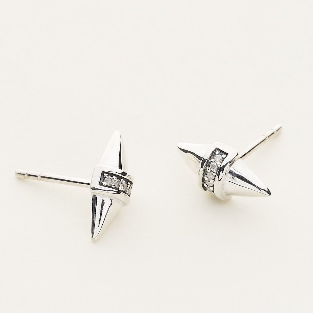 DIAMOND STUD EARSTICK - silver with diamonds