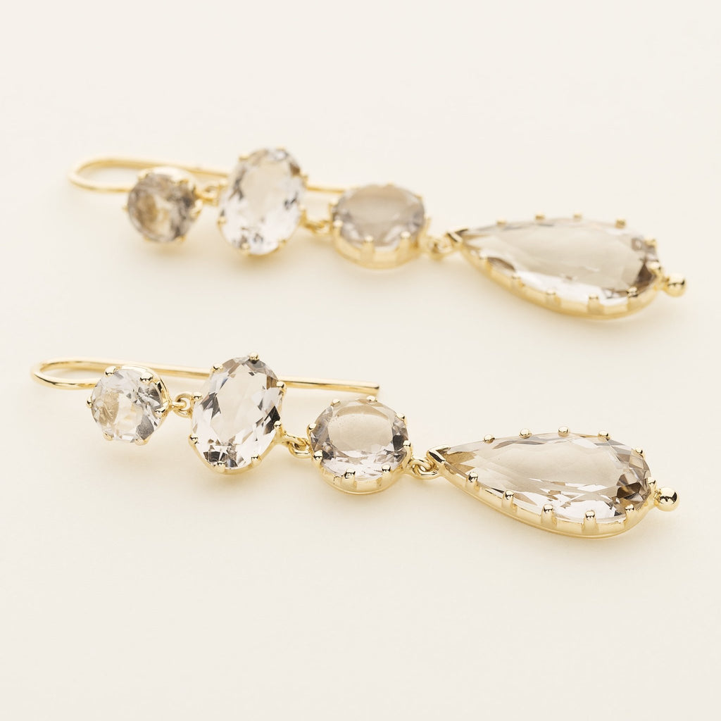 8 SMOKE QUARTZ EARRINGS - gold plated silver