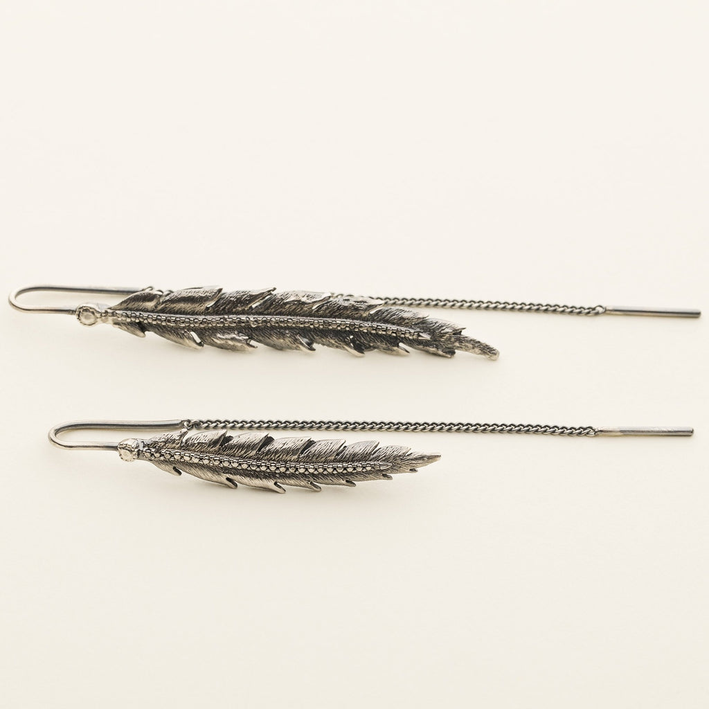 FEATHER EARRINGS - oxidized silver