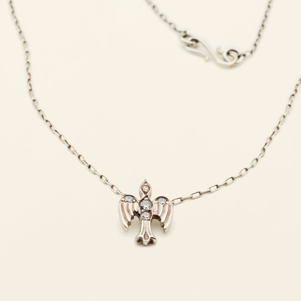 MEDIUM BIRD NECKLACE - silver with diamonds