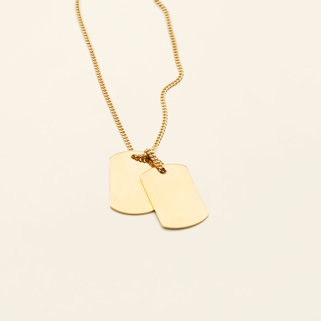 LARGE TAG NECKLACE- goldplated silver