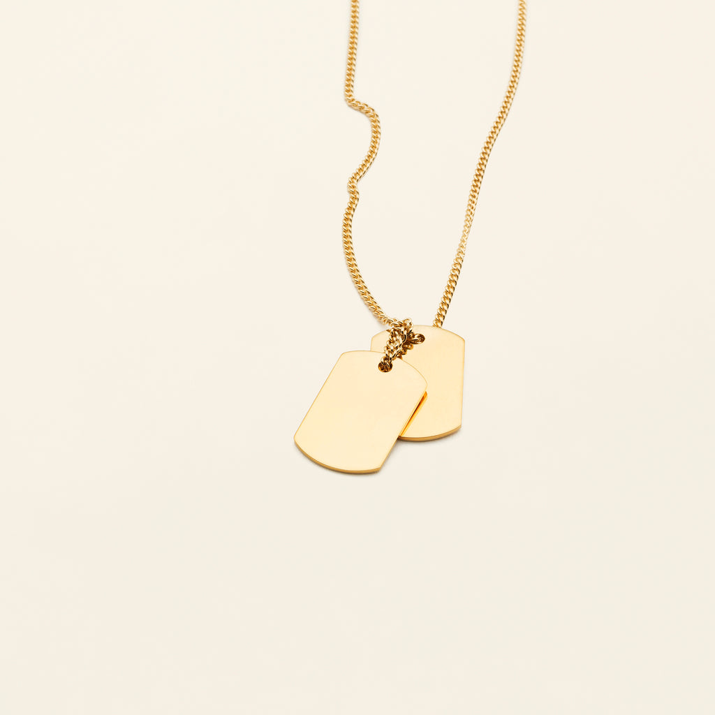 MEDIUM TAG NECKLACE - goldplated silver