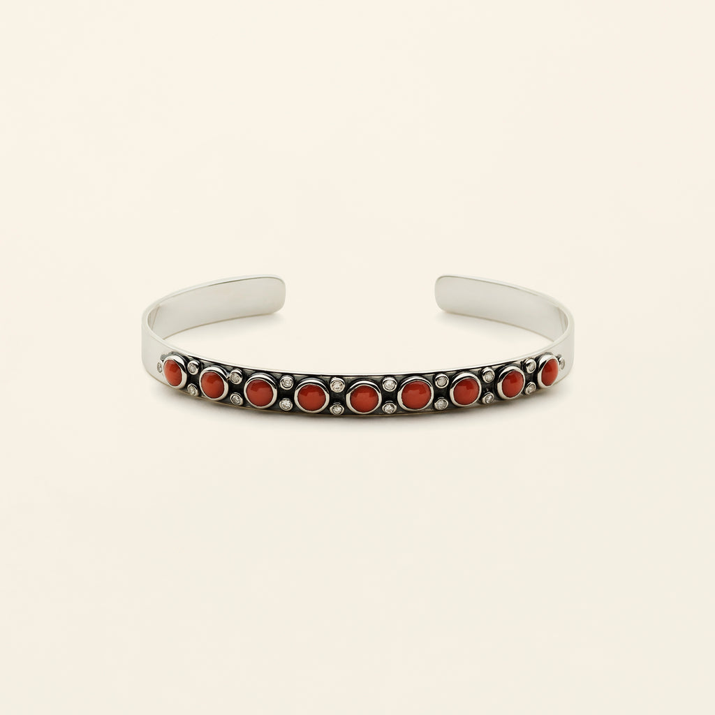 CORAL CUFF - silver with diamonds