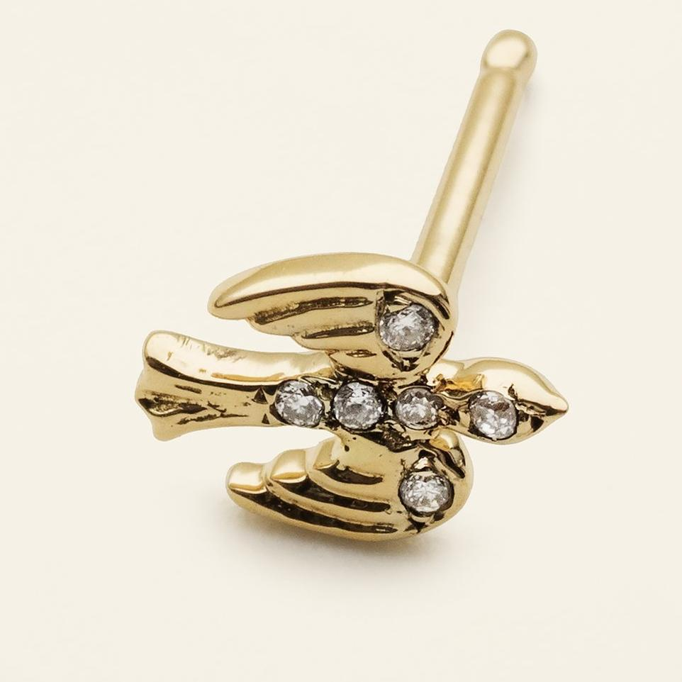 MINI BIRD EARSTICK - 18 karat gold with diamonds
