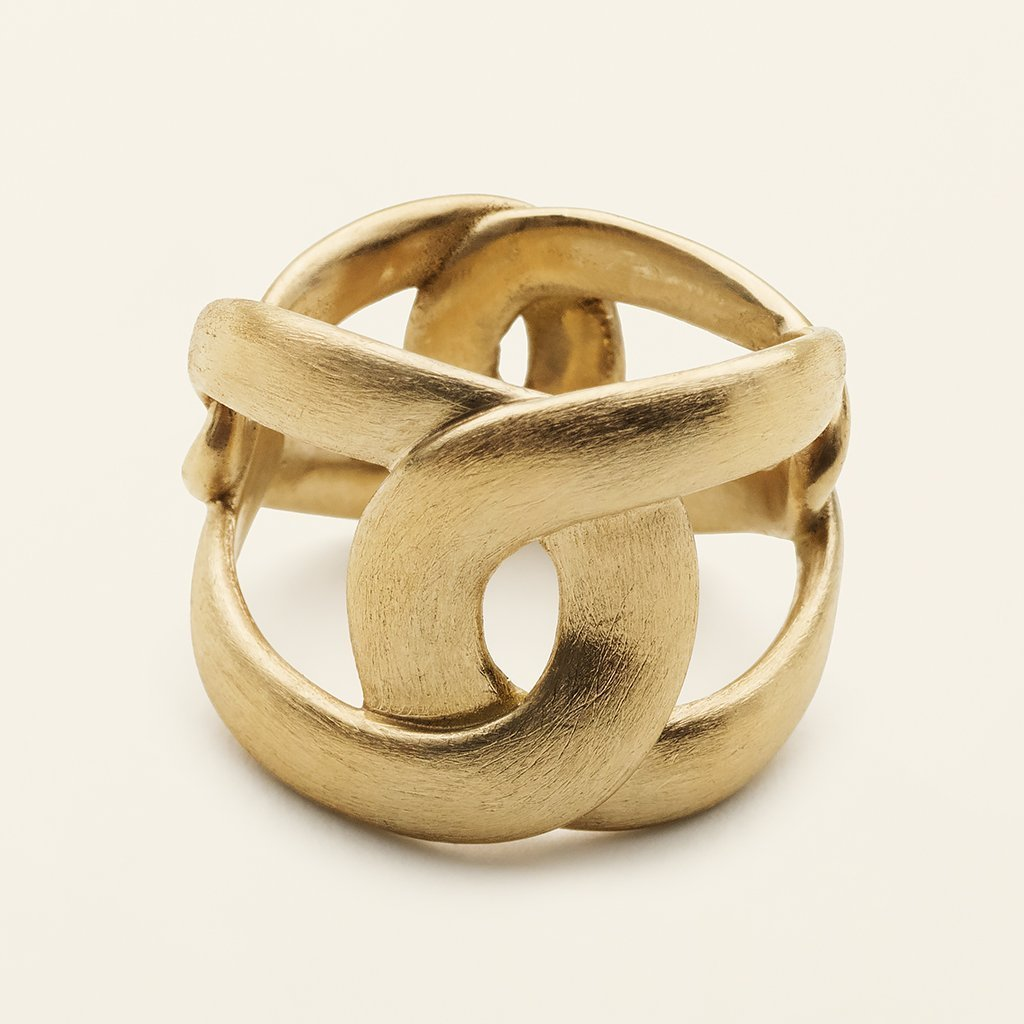TALL 4 TUNE RING - matte gold plated silver