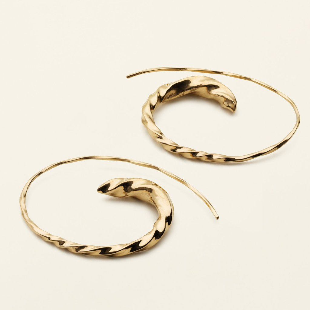 LARGE FLOW ASYMMETRIC HOOPS - gold plated silver