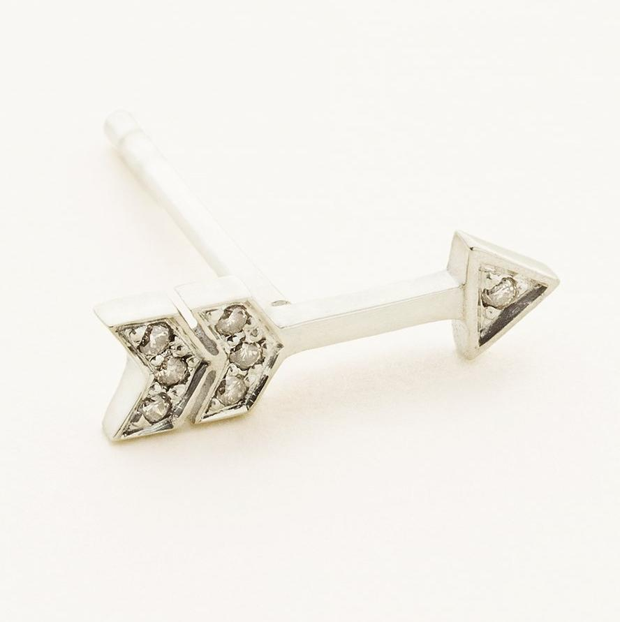 ARROW EARSTICK - silver with diamonds
