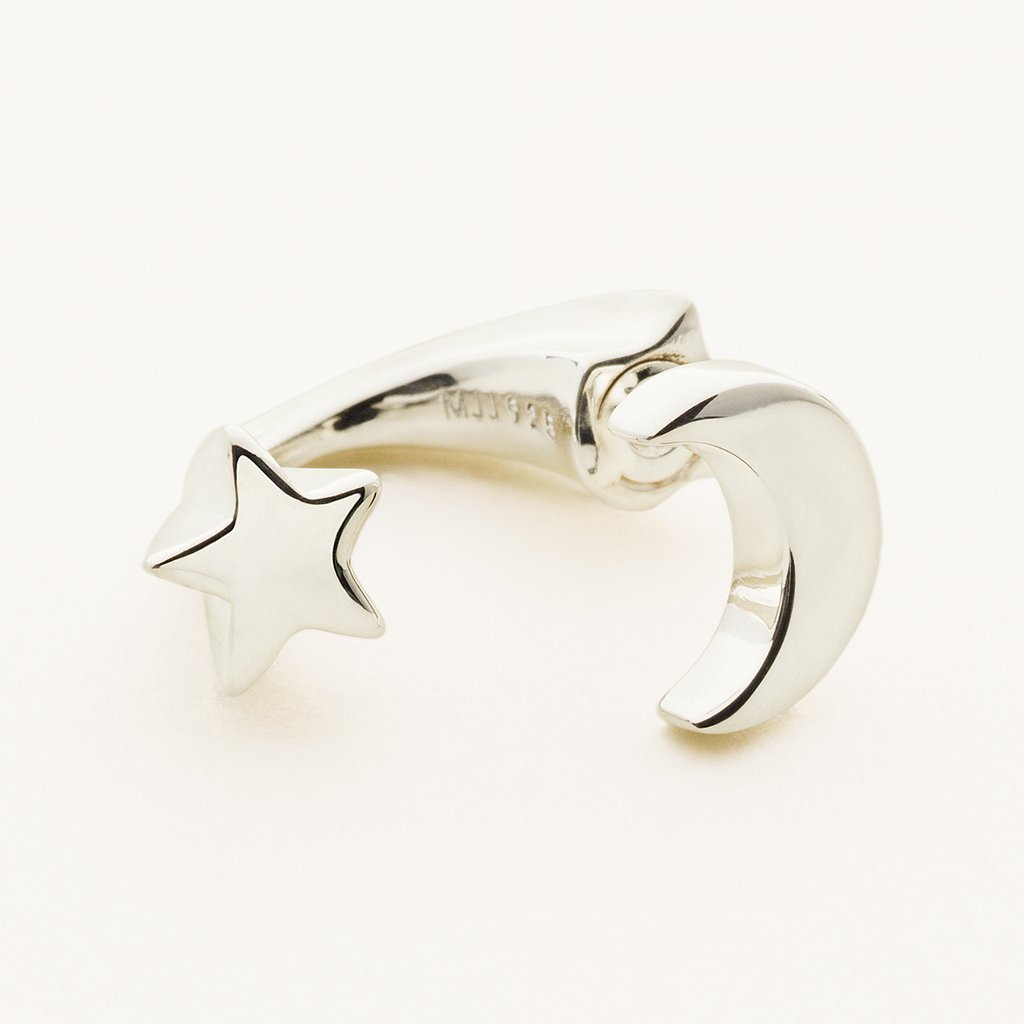 MOON AND STAR EARJACKET - silver