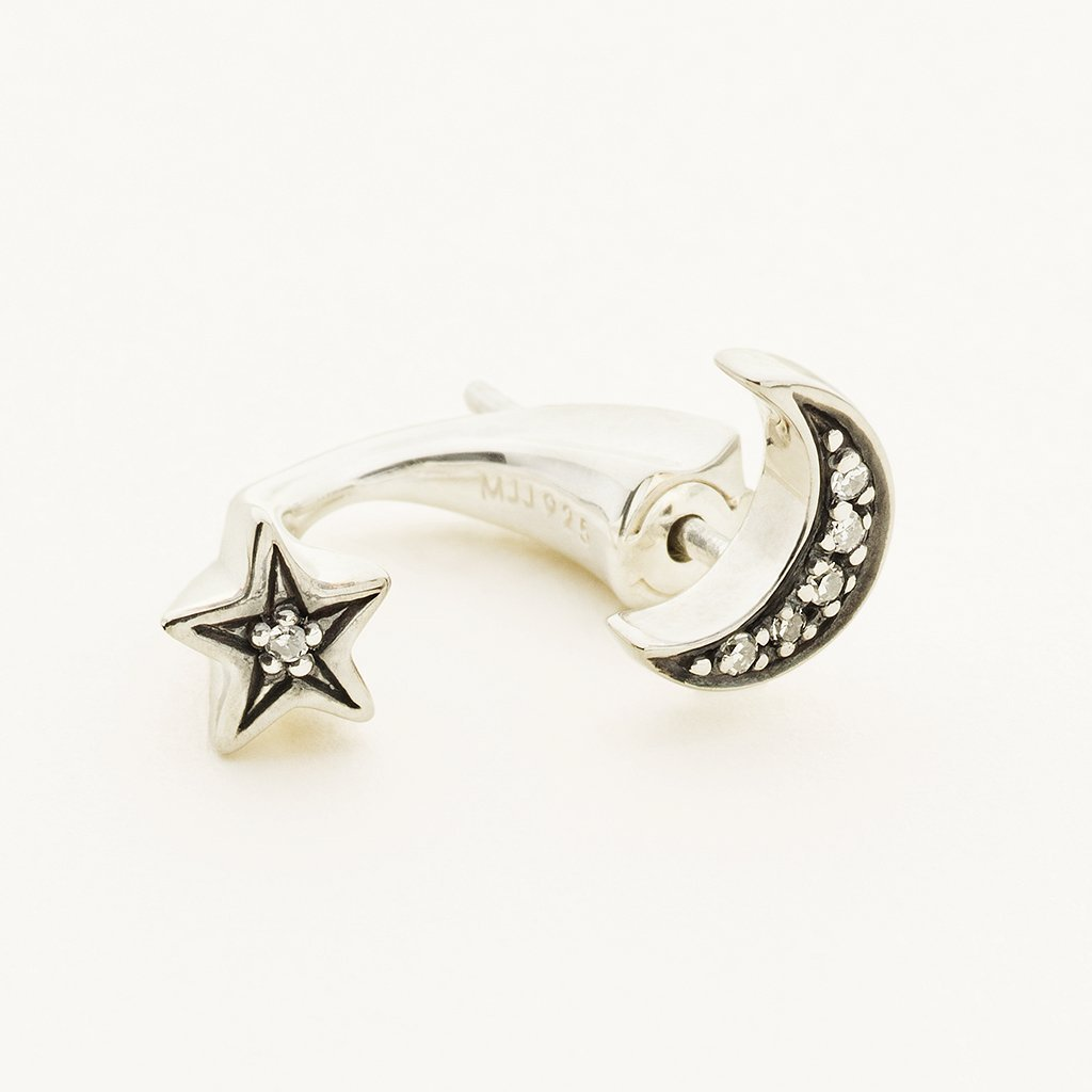 MOON AND STAR EARJACKET - silver with diamonds