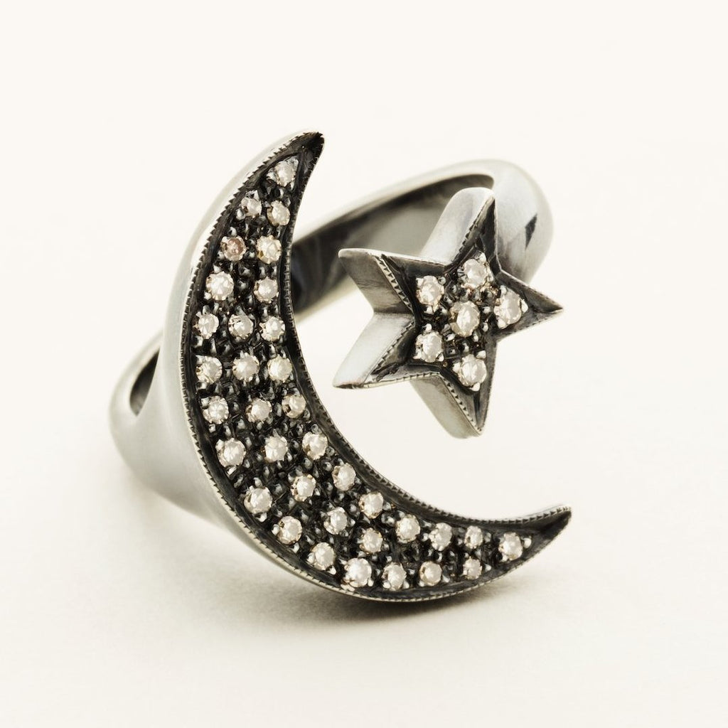 MOON & STAR RING - silver with diamonds