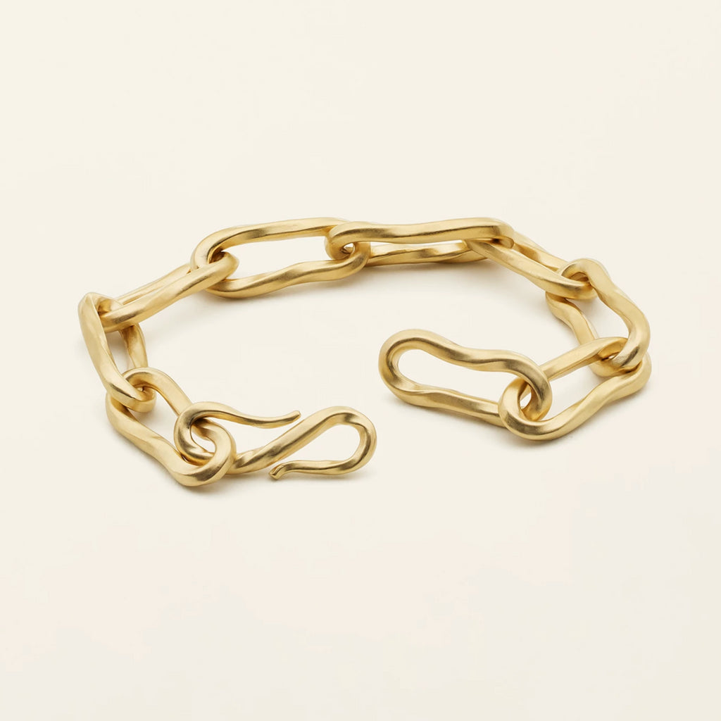 LARGE FLOW BRACELET - gold plated silver