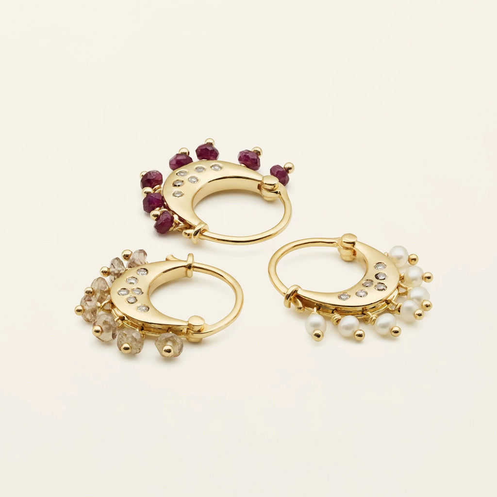JAIPUR DIAMOND HOOPS - gold plated silver