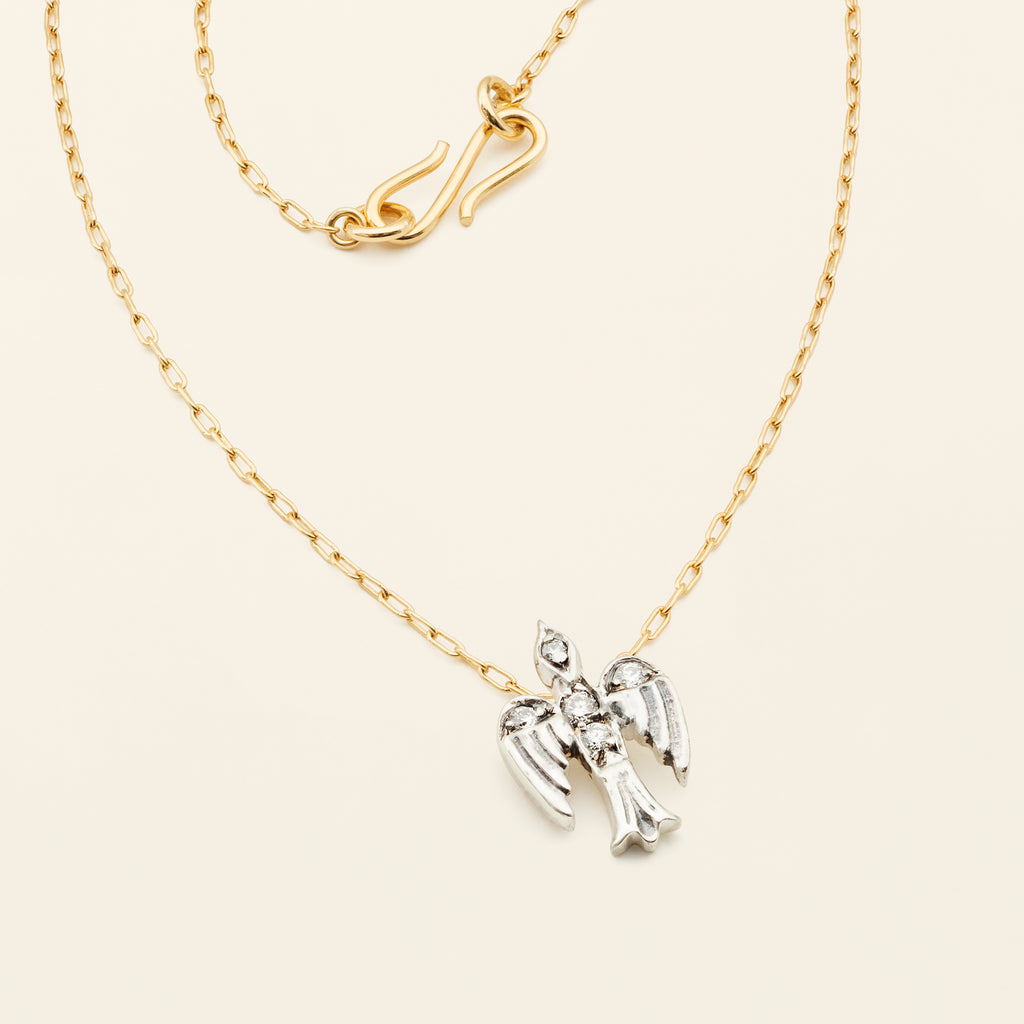 SMALL BIRD NECKLACE - silver & gold plated with diamonds