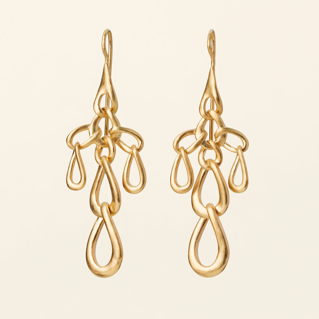 FLOW LINK EARRINGS - gold plated silver