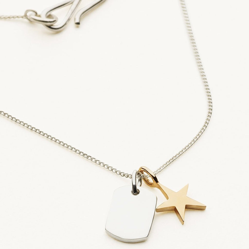 MINI TAG AND STAR NECKLACE - silver and 14 karat gold