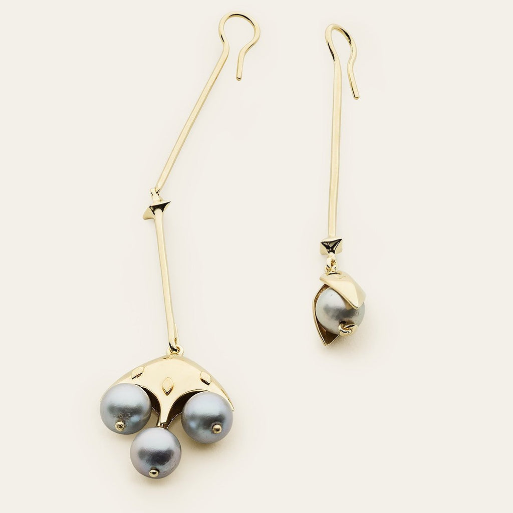 BELL EARRINGS - gold plated silver with pearls