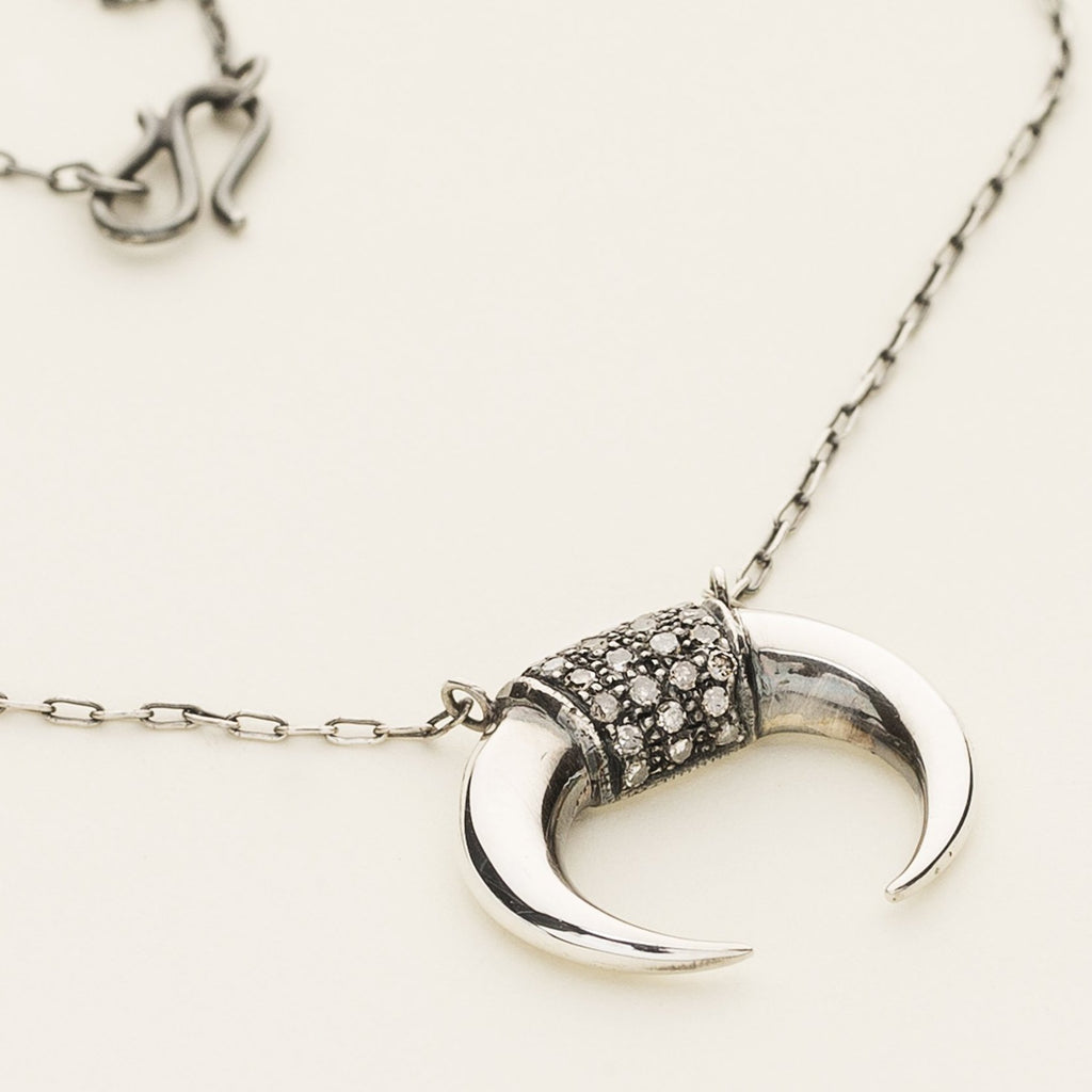 KENYA NECKLACE - silver with diamonds