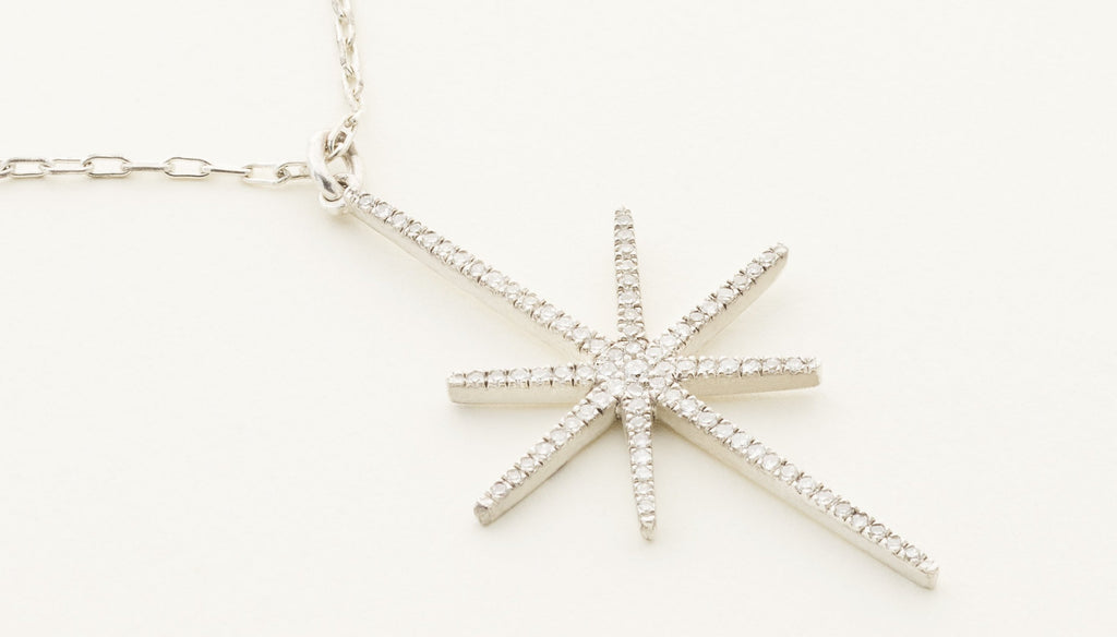 SNOWFLAKE NECKLACE - silver with diamonds