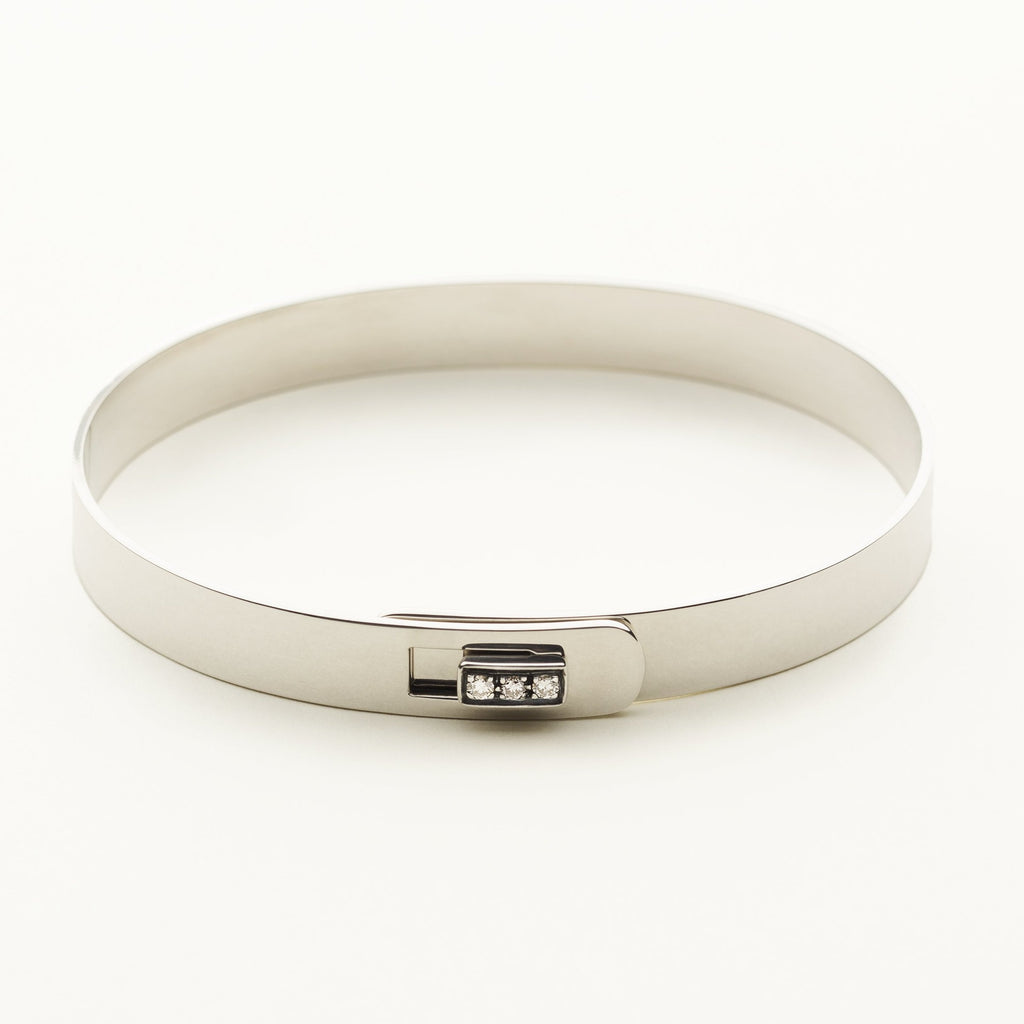 CLICK BRACELET - silver with diamond square lock