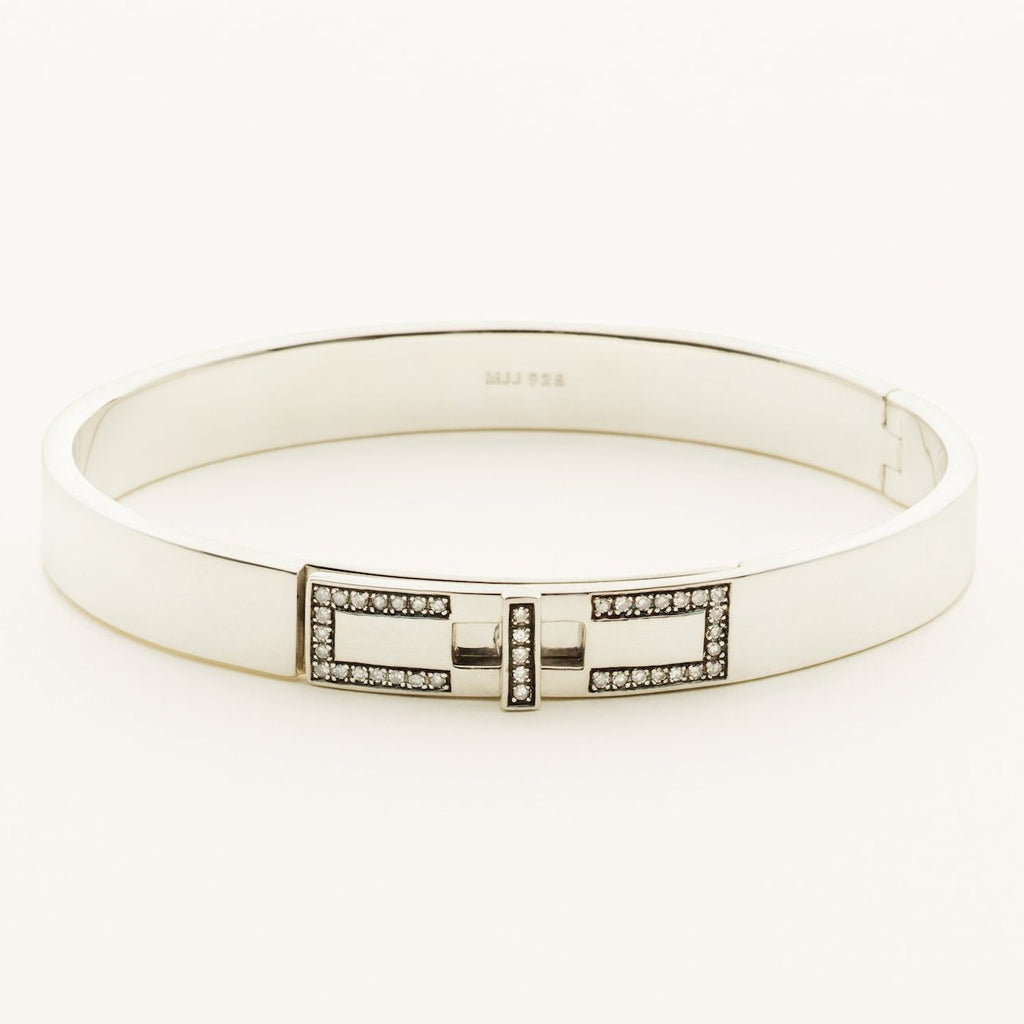 SOLID BANGLE - silver with diamonds