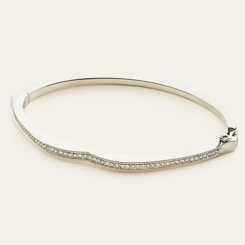 MOUTH BANGLE - silver with diamonds