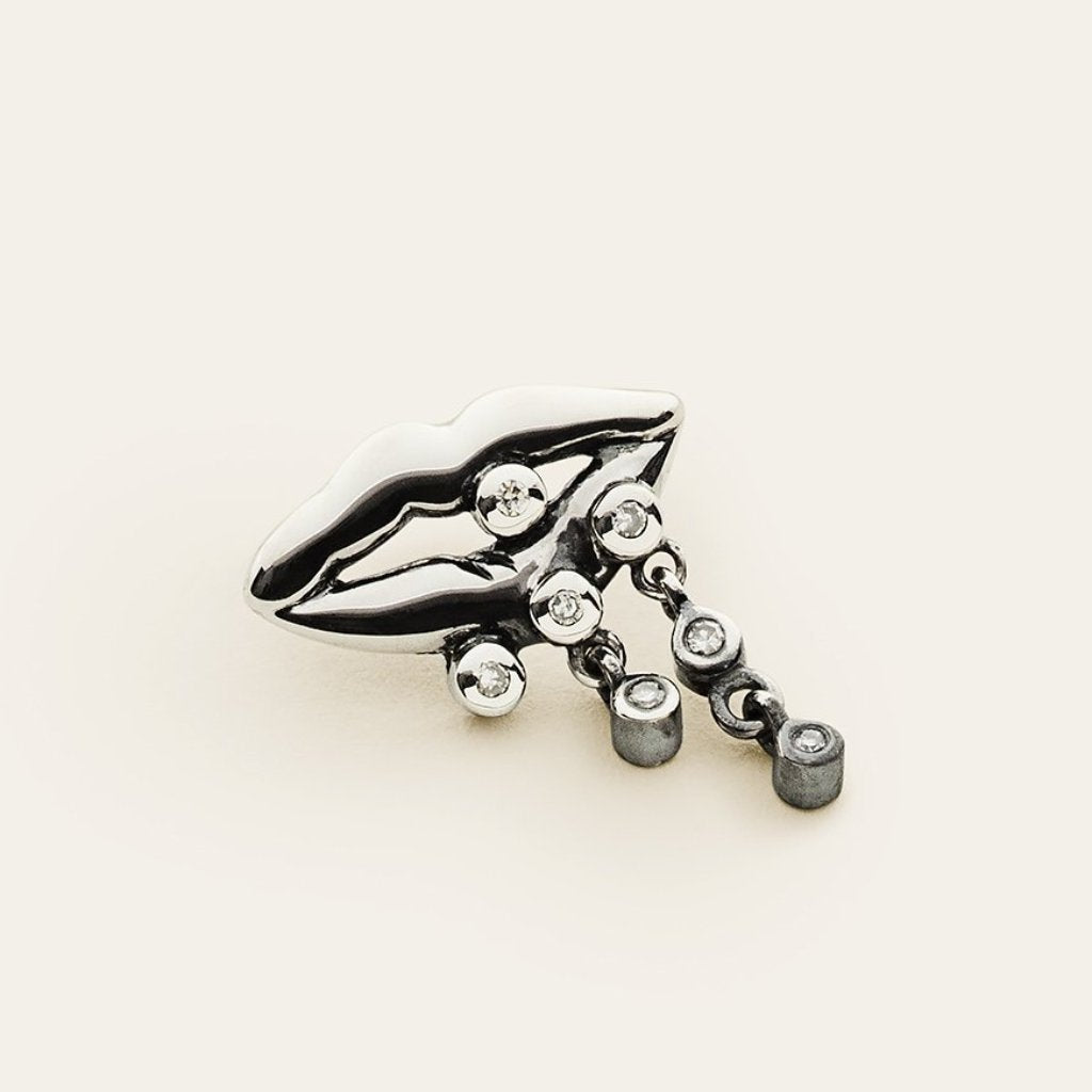 MOUTH EARRING - silver with diamonds