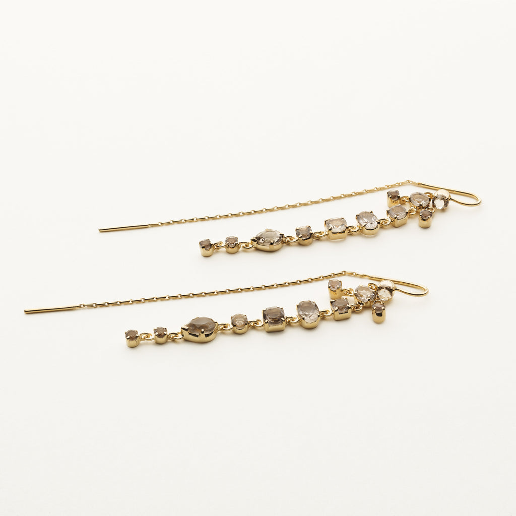 LONG SMOKE QUARTZ EARRINGS - gold plated silver