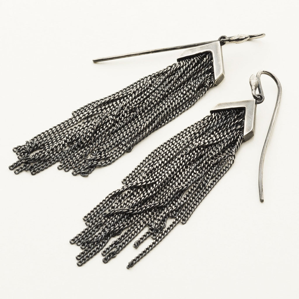 FRINGE EARRINGS - silver
