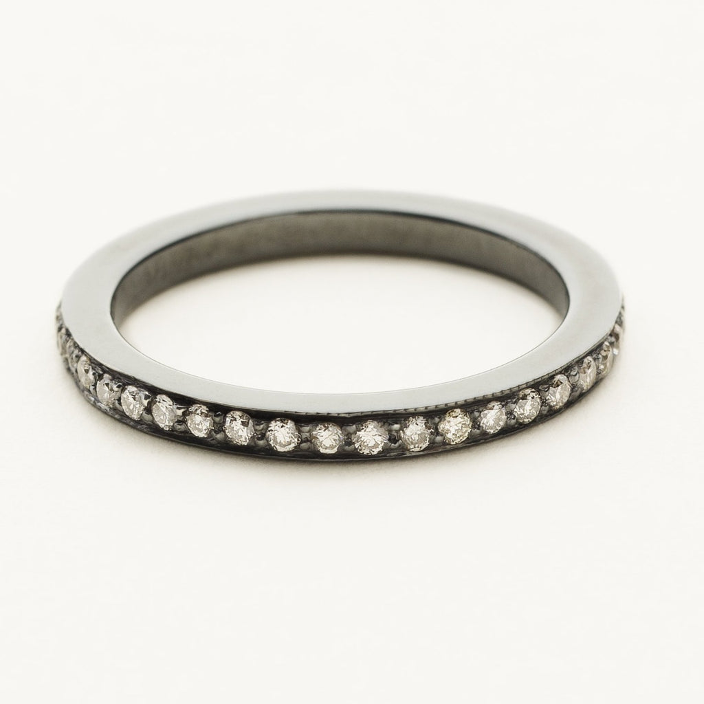 ETERNITY RING - oxidized silver with diamonds