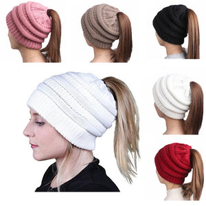 Ponytail Beanie Hat for women