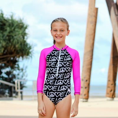 Girls swimwear with zip