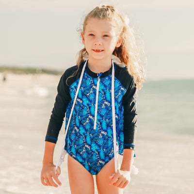 All In One Swimsuit - Palms Blue - HeavenLee Swimwear