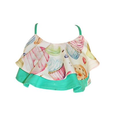 Front of Ruffle Bikini Top - Tea Party