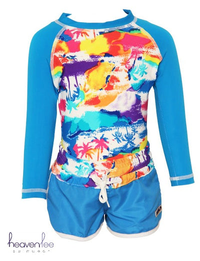 Long Sleeve Rash Top, Boardshort & Knicker SET - Lost Island SIZE 1