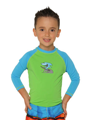 Long Sleeve Rash Top - Shark Attack - SIZE 1, 2, 4