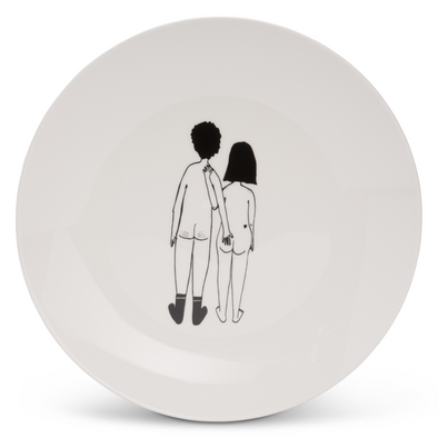 breakfast plate naked couple back