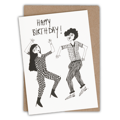 wenskaart happy birthday dancing couple